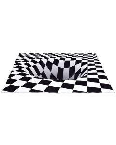 Checkered Hole Printed Optical Rug