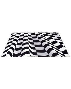 Checkered Ripple Printed Optical Rug