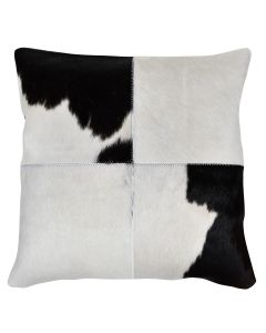 4 Panel Cowhide Cushion Solid White w/ Black & White (with insert)