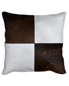 4 Panel Cowhide Cushion Chocolate Ivory Check (with insert)