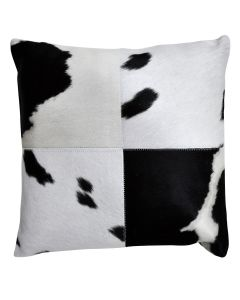 4 Panel Cowhide Cushion White and Black Spot (with insert)