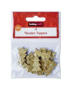 Mini Wooden Glitter Tree Shapes (6 packs of 12 gold trees)